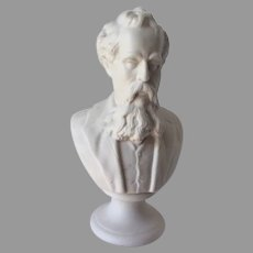 Antique Parian Porcelain Bust of Writer, Charles Dickens, English