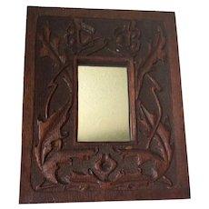 Antique Art Nouveau  Hand Carved Oak Mirror, Picture Frame