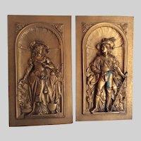 Antique c1880s Victorian Plaques Renaissance Couple, Architectural