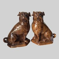 Rare Pair Antique Staffordshire Pug Dogs, Figurines, Glass Eyes