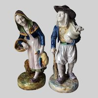 Antique French Faience Art Pottery Figurines, France, Hand Painted