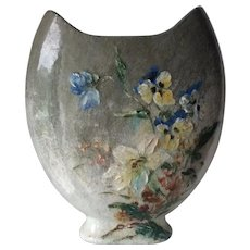 Antique French Barbotine, Gein Vase, La Pond Faience, Hand Painted
