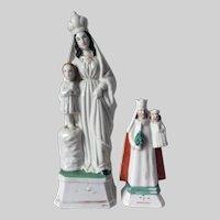 Antique c1860s Old Paris Porcelain Madonna Christian Figurines