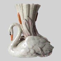 Antique Circa 1875 Royal Worcester Swan & Cattail Vase