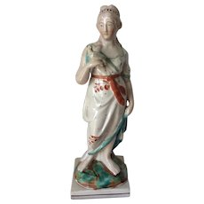 """Antique Circa 1820s Pearlware Lady with Bird Figurine, Staffordshire 10 1/4"""""""