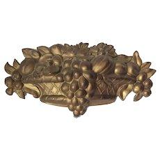 Antique c1870s Brass Architectural Ornament, Fruit Basket