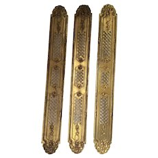 Lovely Antique French Brass Finger Plates, Architectural Push Plates