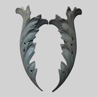 Antique 19thC Cast Iron Architectural Ornaments, Acanthus Leaf, Feather