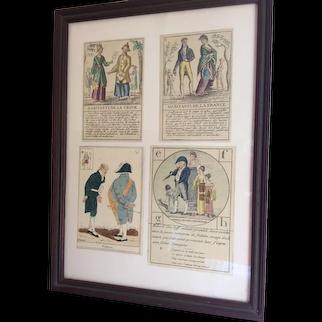 Vintage Print of Playing Cards, Le Grand Jeu De Geographie 1800