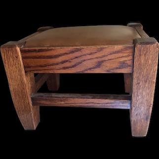 Antique Arts & Crafts Oak Footstool, Leather Top, Mission