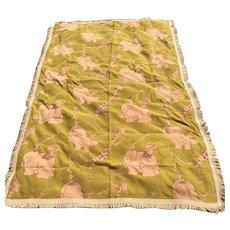 Adorable Antique Art Deco Bedspread, Giraffe, Hippopotamus, Elephant, Monkey
