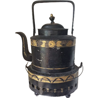 Antique Early 1800s Federal, Regency Tin Teapot & Warmer, Primitive