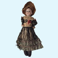 Antique French or German Porcelain Doll, Hand Painted, Original Clothes