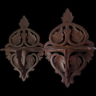 Pretty Pair Folk Art Wood Shelves with Carved Leaf Motif