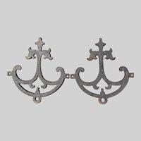 Antique Cast Iron Architectural Ornaments, Faux Hinge Motif