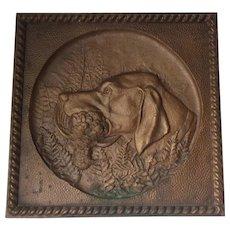 Antique Bronze Plaque, Labrador Retriever Dog, Woodcock Bird, Hunting