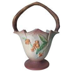 Vintage Roseville Art Pottery Bittersweet Basket, Signed 811-10