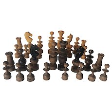 Antique Hand Carved Wood Chess Set, Complete, Treen