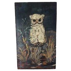 Vintage Folk Art Oil Painting of a White Owl, Primitive, Naive