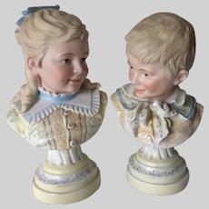Pair Antique Circa 1880s Bisque Porcelain Busts of Children