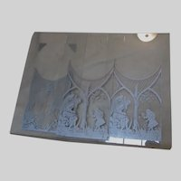 Antique Clock Glass Panels, Father Time, Light House