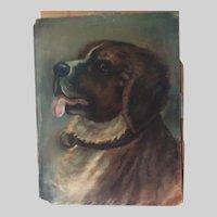 Beautiful Antique Pastel of a Saint Bernard Dog, Original Art