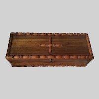 Lovely Antique Primitive Chestnut Wood Folk Art Box