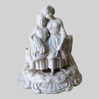 Antique c1870s Bisque Porcelain Match Safe, Young Ladies