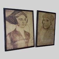 Antique Hans Holbien Renaissance Prints, Lady Lister, John Fisher