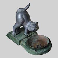 Antique Art Deco Vanity, Desk Tray with Cat, Kitten