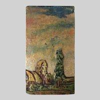 Antique Arts & Crafts, Art Pottery Tile Plaque, Landscape, Signed