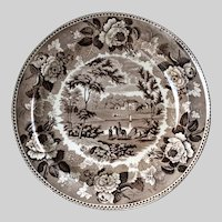 Antique Wedgwood Brown Transferware Plate, Horse, Couple, House