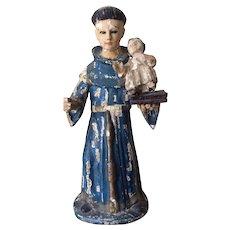 Antique Saint Anthony Santos, Christian Saint, Hand Carved, Glass Eyes