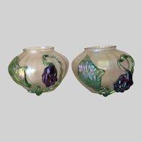 Pair Lovely Antique Art Nouveau Kralik Art Glass Vases, Iridescent