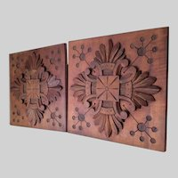 Antique Victorian Aesthetic Hand Carved Architectural Plaques, Panels