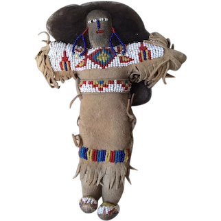 Native American Indian Doll, Leather with Beadwork & Real Hair