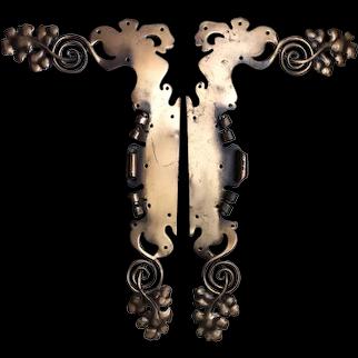 Antique Art Nouveau Architectural Ornaments, Hand Forged Brass