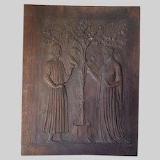 Antique Hand Carved Architectural Panel, Renaissance, Christ & Queen