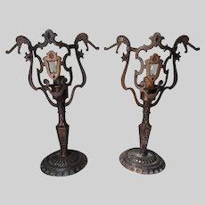 Antique Arts & Crafts Bronze Table Lamps, Dragon, Gargoyle Motif