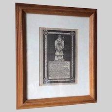 Early Antique Print, Memorial Bishop Robert Pursglove, England