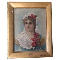 Antique Oil Painting of a Lovely Lady in Lace, Signed J Bouche