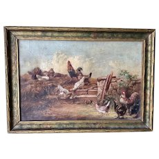 Antique Farm Yard Oil Painting of Chickens & Roosters