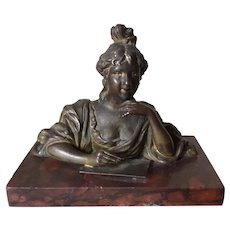 Antique Victorian Desk Paperweight of a Lady Writing a Letter