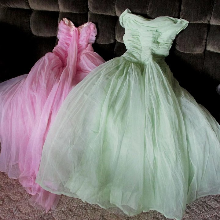 ef3e96c8ea9 Two 1950s Tulle Strapless Party Dresses, Formal Evening
