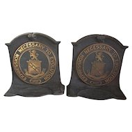 c1920 Bronze, Cast Iron Emerson College Boston Bookends