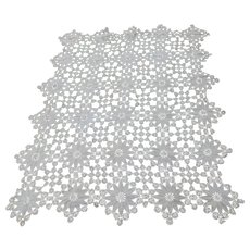 Antique Lace Tablecloth, Hand Crochet Floral Design