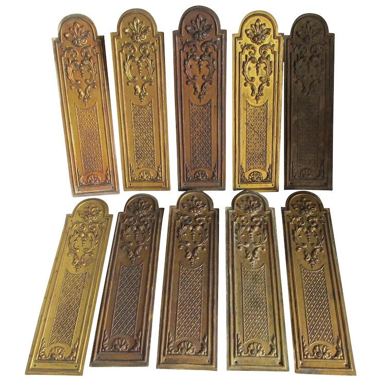 10 Matching French Door Push Plates, Architectural - 10 Matching French Door Push Plates, Architectural SOLD Ruby Lane