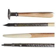 Antique Pen, Pencil, Seal Set with Jasper & Celluloid Handles