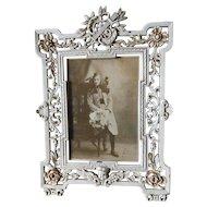 Antique Picture Frame with Lyre, Original Paint