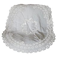 Antique Round European Needlepoint Lace, Linen Tablecloth